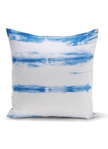Real Homes Mavi Beyaz Renkli Dijital Baskılı Modern Kırlent Kılıfı Renkli